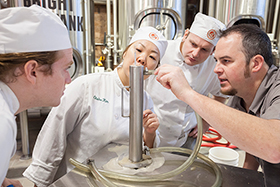 The Culinary Institute of America has introduced the first three beers brewed on campus as part of the college's new Art & Science of Brewing elective.