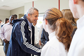Danny Meyer greets students between sessions of A Day with Danny Meyer and Union Square Hospitality Group at The Culinary Institute of America on April 11, 2016