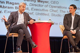 Danny Meyer and Union Square Hospitality Group Director of Operations & Wine John Ragan discuss hospitality during a roundtable session at the CIA's Day with Danny Meyer on April 11, 2016