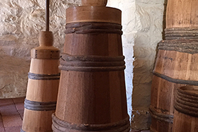 Butter churns at Philipsburg Manor in Sleepy Hollow, NY, visited by CIA students during their research of Dutch foodways in the Hudson Valley.
