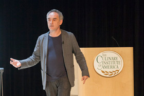 Famed Catalonian Chef Ferran Adrià speaks to CIA students.