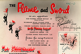 "The Flame and Sword menu (undated) on display at the ""Fire in the Belly"" exhibit at the CIA."