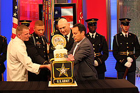 Cake cutting ceremony in NYC on the set of Fox and Friends with Army General Odierno.