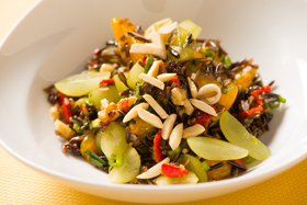 Green Grape and Wild Rice Salad with Sherry Vinaigrette, Toasted Walnuts, and Roasted Red Peppers-th