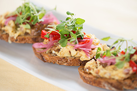 Toast with Prosciutto Scrambled Eggs, Peppers and Pickled Onions