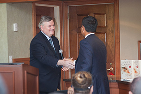 CIA President Dr. Tim Ryan welcomes Suntory President and CEO Takeshi Niinami to the launch of the Advanced Cooking: Japanese Cuisine course at the CIA's New York campus on September 13, 2016