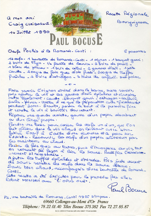 Handwritten Recipes from the World's Great Chefs on Exhibit
