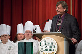 Mark Cox speaks to graduates of The Culinary Institute of America, San Antonio on September 4, 2015.