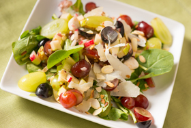 Tri-Color Grape, Arugula, and Mozzarella Salad with Apple Cider Vinaigrette and Toasted Almonds-th
