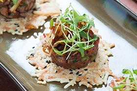 Tataki: Japanese-style Seared Beef Carpaccio on a Black Sesame Montasio Frico