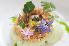 Crab-onion ring-sour cream appetizer prepared by Ryan Clift of the Tippling Club in Singapore.