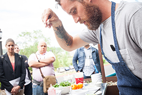 Chef Eric Werner of Hartwood in Tulum, Mexico, prepared Maya Prawns with Chipotle Mezcal Sauce for the 700 culinary professionals and foodservice executives in attendance