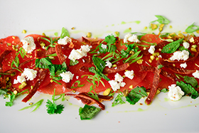 Watermelon Carpaccio with Fried Prosciutto and Basil Oil