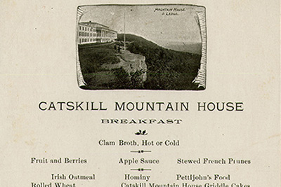 "A menu from the Catskill Mountain House in Palenville, NY from the early 1900s is on display at the CIA as part of the new student-curated ""State of Ate: New York's History Through 8 Ingredients"