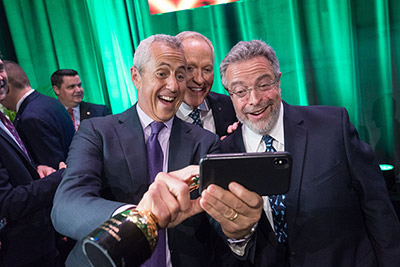 Three of America's leading names in hospitality, (from left) Danny Meyer, Patrick O'Connell, and Drew Nieporent pose for a selfie at the CIA's Leadership Awards in New York City on April 18