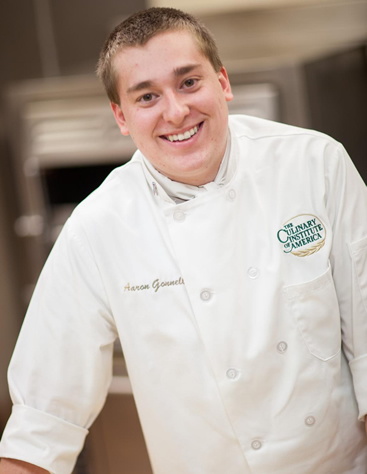 Aaron Gonnelly, CIA culinary arts student, enjoys having the opportunity to learn from and interact with so many different types of chefs on campus: Certified Executive Chefs, Certified Master chefs, and Certified Master Pastry Chefs.