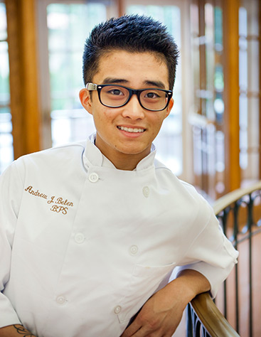 Andrew Belen, CIA baking and pastry arts student, chose the CIA as his culinary school because the amount of knowledge to be gained from the CIA's chefs was unmatched.