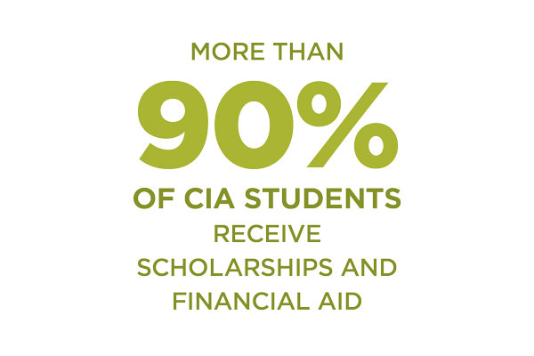 90 percent of CIA students receive scholarships and financial aid