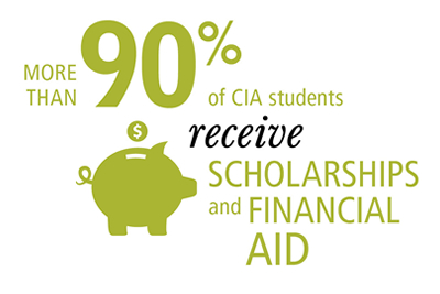 graphic image - 92 percent of CIA students receive scholarships and financial aid