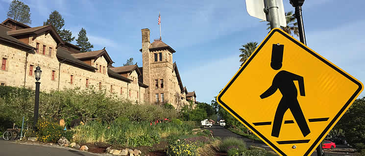 Chef safety crossing sign in front of the CIA's Greystone campus in St. Helena, California.