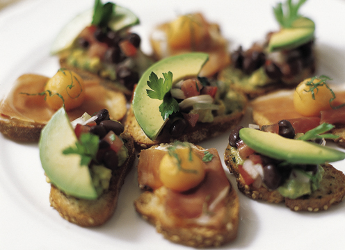 Black Bean and Avocado Crostini