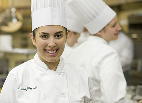 CIA culinary arts student in CIA kitchen
