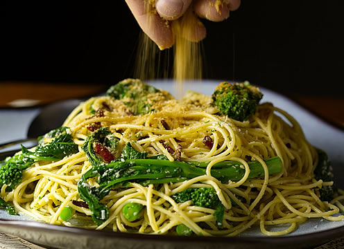 Broccoli rabe pasta dish at the CIA