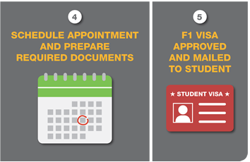 Step 4: Schedule an appointment and prepare the required documents. Step 5: F1 visa is then approved and mailed to the student (F1 Visa Application Process image)