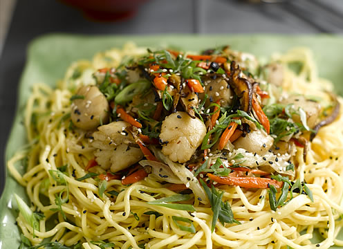 Stirfry scallops on pasta at the CIA