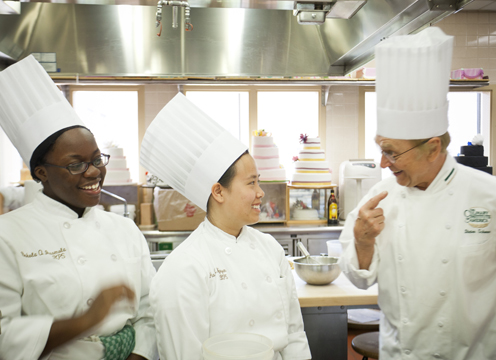 CIA Students with Chef Instructor Dieter Schorner