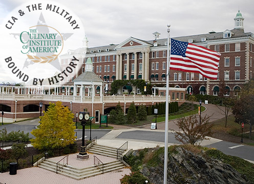 The Culinary Institute of America and the Military: American flag flown proudly at the CIA's campus in Hyde Park, NY