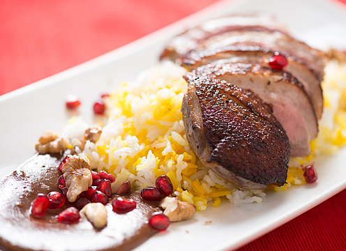 Anahita Naderi Seared Duck with Pomegrant Walnut Sauce
