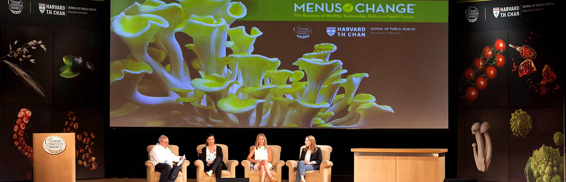 Panelists on the stage of the Menus of Change Conference. The CIA is shaping the future of the food industry.