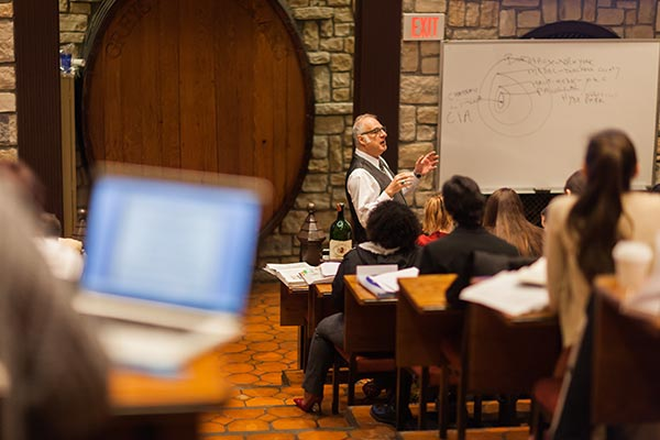 Students attending a class for the CIA's Wine Management Master's Degree.